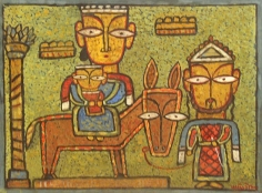 Jamini Roy HOLY FAMILY Tempera on board 17 x 21 in.