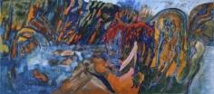 Avinash Chandra LANDSCAPE JAMAKA 1986 Oil on canvas 22 x 50 in.