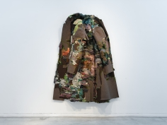 Ruby Chishti  An intangible sanctuary of ocean and starts II  2020  Men's vintage wool overcoat, cloth, thread flicking powder, wood, paint, archival glue, dried moss  100h x 74w x 14d in