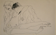 K Laxma Goud UNTITLED FIGURE IN ARMS 1977 Ink on paper 5.7 x 9.5 in.