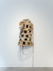 Ruby Chishti  Mother, Wake Me Up At 7:00  2020  Recylcled fabric, thread, wood, paint, wire mesh  38h x 23w x 9d in
