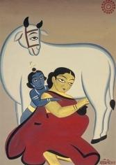 Jamini Roy UNTITLED (YASHODA AND KRISHNA) ND Gouache on card 30 x 21 in
