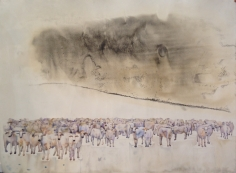 G. R. Iranna, Untitled (African Cows), 2014, Watercolor on paper, 42 x 56 in