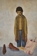 Salman Toor, Man with Tote Bag and Laptop, 2018, Oil on panel, 36 x 24 in