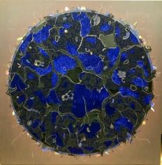 Jagannath Panda (b.1970)  Earth's Whisper - 1, 2018  Acrylic, Fabric, glue.  60h x 60w in