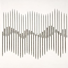 Roohi Ahmed TWO NATION THEORY 2009 Large metallic needles on board 16.5 x 16.5 in.