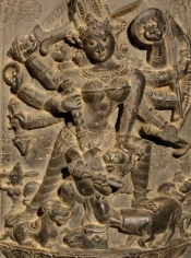 Durga Destroying Mahishasura Eastern India, Pala Period c. 12th century Basalt Height: 23 in.