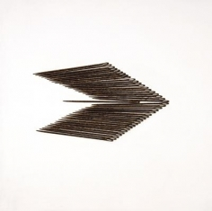 Roohi Ahmed WHICH WAY 2009 Large metallic needles on board 16.5 x 16.5 in.