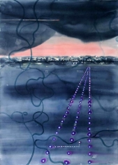 Indrapramit Roy IMPERFECT LANDING 2005 Watercolor on paper 50 x 40 in.  SOLD