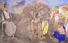 Laxma Goud THREE DANCING FIGURES IN CENTER, THREE WATCHING (HERWITZ COLLECTION) 1991 Pencil, Crayon on paper 14 x 22 in.  SOLD