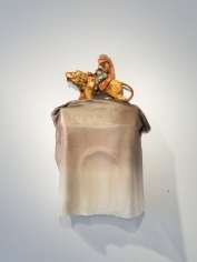 Ruby Chishti  Ghost - Victory Arch  2020  Wire mesh, polyester, apoxy clay, gold leaf, fabric, paint , and archival glue on board  40h x 21w x 7d in