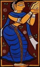 Jamini Roy UNTITLED (WORSHIPPER) ND Gouache on card 25 x 15 in.