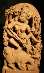 Durga India Pink sandstone 9th/10th Century 44 in.