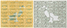 Abdullah M. I. Syed Mapping Investment: Pakistan (Diptych) 2017 Hand-cut U.S. $2 banknote sheet and banknote collage with acrylic on wasli 20.25 x 50.25 in.