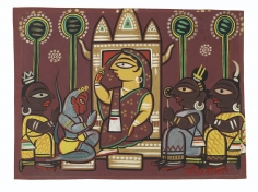 Jamini Roy  Untitled (Ramayana)  tempera on paper laid on card  13.63h x 18.63w in