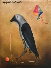 Anjolie Ela Menon  Crow, 2017  Oil on Masonite Board  12 x 16 in