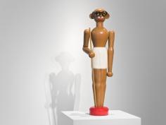 Debanjan Roy  Toy Gandhi 3 (Toy Soldier), 2019  Wood and enamel paint  48 x 14 x 14 in