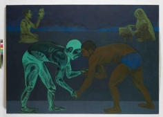 Anwar Saeed  Wrestling with an Imaginary Opponent, 2010  Acrylics and charcoal on canvas  60 x 86 in