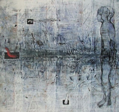 G. R. Iranna, Untitled 3 (Grey Figure), 1998, Paint on canvas, 70 x 75 in
