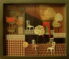 Seher Naveed  ...And Those Houses, They Will Never Live Again 1, 2012  Paper-cuts on multiple pieces of glass  16.13 x 18.75 x 4.13 in