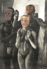 Anupam Sud THREE PINK MASKS 1990 Etching 20 x 26 in.