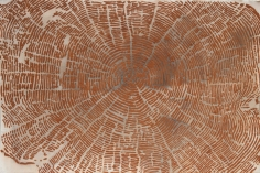 G. R. Iranna  The Body, 2017  Brick powder on paper  42 x 56 in