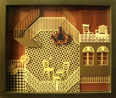 Seher Naveed  ...And Those Houses, They Will Never Live Again 3, 2012  Paper-cuts on multiple pieces of glass  15 x 18 in