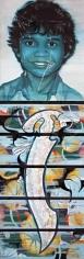 Reena Saini Kallat SWORD SWALLOWER - BOY 2006 Acrylic on canvas 77 x 22 in.