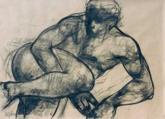 Sajal Sarkar RESTING 2003 Charcoal on paper 26 x 30 in.