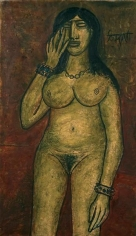 F. N. Souza NUDE 1961 Oil on board 51.5 x 30 in.