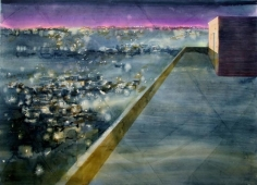 Indrapramit Roy THE TERRACE 2006 Watercolor on paper 40 x 55 in.  SOLD