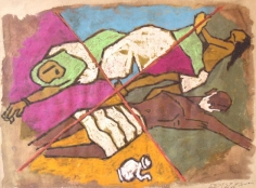 M. F. Husain UNTITLED (FOUR TRIANGLES DESIGNATED) Watercolor and ink on paper 22 x 29 in.
