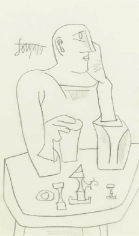 F. N. Souza MAN AT TABLE 1959 Pencil on paper 13 x 8 in.