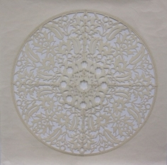 Anila Quayyum Agha All Flowers Are for Me (White) 2015 Embroidery and encaustic on laser-cut paper 30 x 30 in.