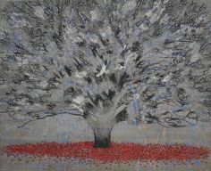 G. R. Iranna  Beginning from the End, 2017  Acrylic on tarpaulin  66 x 54 in