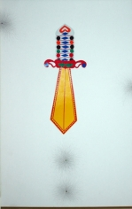 Muhammad Zeeshan TOP OF THE POP 2007 Gouache with reflective sticker on wasli 20.5 x 13.5 in.  SOLD