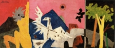 M. F. Husain UNTITLED Oil on canvas 25 x 59 in.