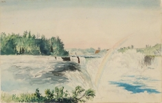 """Charles DeWolf Brownell  (1822 - 1909) Niagara Falls from the American Side circa 1859 Watercolor on Paper H 5.25"""" x W 8.375"""" Titled Verso on Vintage Label – """"Niagara, from the American side"""" Price Upon Request"""
