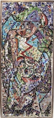 Jackson Pollock, Untitled CR1048, c. 1938-41, mosaic tesserae in cement with braced wooden frame, 54 x 27 in.