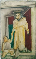 Mother and Child, 1938-39, oil on gesso on board, 5 x 3 in.