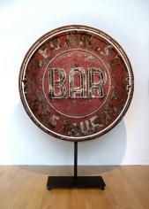 Original Double-sided Sign, painted galvanized metal, copper and  neon, 46 in. diameter, 15 in. deep