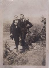 Two Men (Double Exposure), 1920s, 2 1/4 x 3 1/4 in.