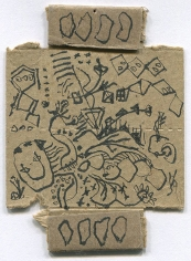 Jackson Pollock, Untitled, c. 1952-56, recto: ink on beige matchbox cardboard, verso: ink on blue matchbox cardboard, 3 3/8 x 2 1/2 in. CR#870
