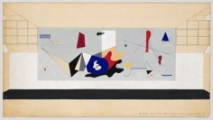 Ilya Bolotowsky, Study for Mural for Williamsburg Housing Project, c. 1936, opaque watercolor and pen and ink on board, 16 x 30 in. Whitney Museum of American Art, New York; 50th Anniversary Gift of Edward R. Downe, Jr., Purchase Fund, Mr. and Mrs. William A Masteller and the National Endowment for the Arts 80.4 (c) Estate of Ilya Bolotowsky, Licensed by VAGA, New York, NY