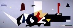 "Ilya Bolotowsky,WPA Mural, Williamsburg Houses Brooklyn, 1936-80, Liquitex on canvas, 6'10"" x 17'"