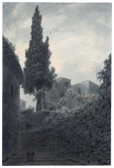 John Robert Cozens, The eight hundred year old Cypress in the Garden of the Franciscan Monastery at Salerno