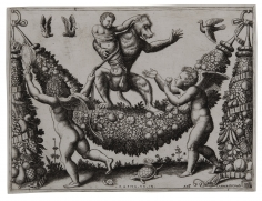 Master of the Die, Two Putti Mocking a Monkey