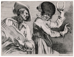 Augustin Quesnel, Two Musicians: A Man with a Guitar and a Woman Playing a Tambourine