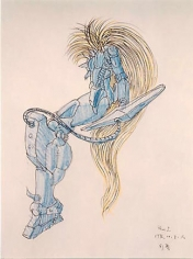 Lee Bul. Cyborg drawing:blue 1, 1996. Mixed media on paper, 63 x 82 cm.Courtesy of the artist & PKM Gallery.
