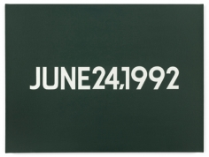 On Kawara. June 24, 1992, 1992.Liquitex on canvas, artist-made box with date, corresponding newspaper, 45.7 x 61 cm.Courtesy of the artist & PKM Gallery.
